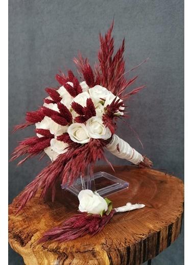 Kuru Çiçek Deposu Gelin Buketi Beyaz Islak Güllü 2'Li Set Beyaz